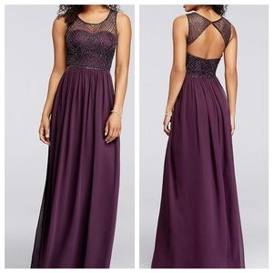 Plum prom sweetheart gown with beaded bodice